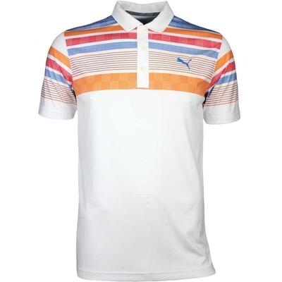 Puma Golf Shirt Jersey Stripe White Vibrant Orange SS17
