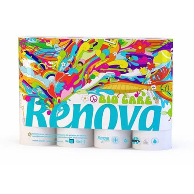Renova Green 100% Recycled Toilet Paper Bio Balm Care - 12 Pack