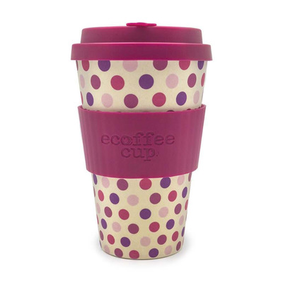 Ecoffee Pink Polka Reusable Travel Cup
