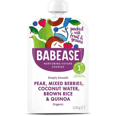 Babease Organic Pear & Mixed Berries 100g - Stage 1 - Box of 8