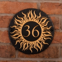 Round Rustic Slate House Number with Golden Sun 2 Image