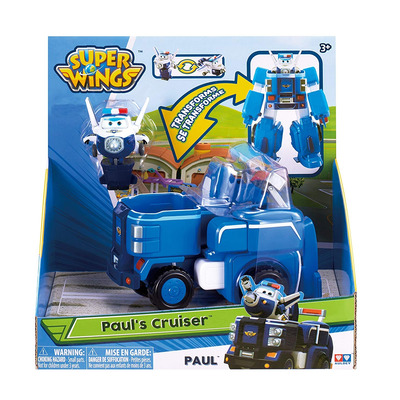 Super Wings - Deluxe Transforming Vehicle, Series 2, Paul, Includes 2 Figure