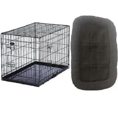 Dog Cage / Crate & Sheepskin Imitation Bed