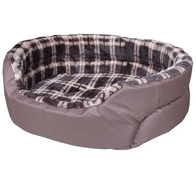 Lazy Bones Checked Canvas Fleece Oval Dog Beds