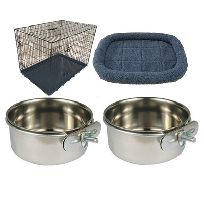 HugglePets Dog Cage with Sheepskin Bed & 2 Clamp On Bowls