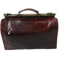 Classic Luxury Italian Leather Framed Vintage / Antique Travel Bag / Case - Brown Medium
