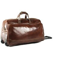 Classic Range Luxurious Italian Leather Holdall with Wheels - Brown