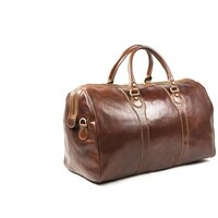 Classic Superior Full Grain Italian Leather Holdall / Weekend Bag - Brown Small
