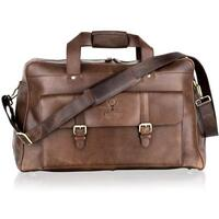 Woodland Leather Cabin Size Rugged Leather Holdall/Travel Bag - Brown