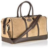 Woodland Leather Luxurious Canvas Holdall / Cabin Bag - Brown