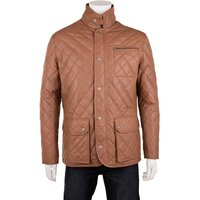 Woodland Leather Mens Quilted Tan Leather Country Coat - Tan XS