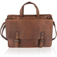 Woodland Leather Unisex Classic Leather Briefcase / Messenger Bag - Tan