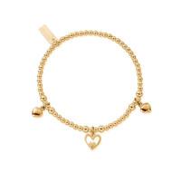 Cute Charm Triple Heart Bracelet - Gold