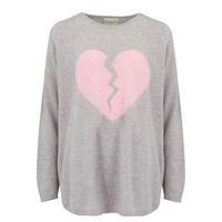 Maxi Heart Breaker Cashmere Sweater - Pewter & Pink