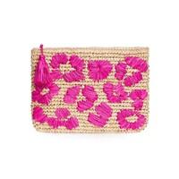Leopard Embroidered Raffia Clutch - Pink
