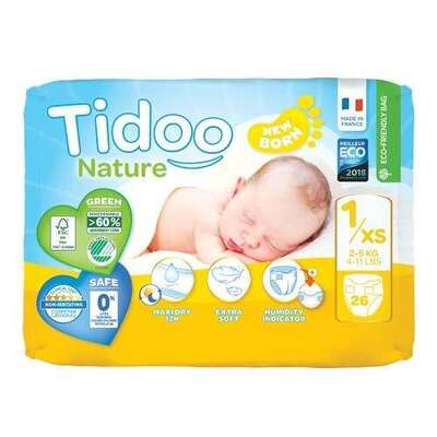 Tidoo Nappies Size 1 Newborn - 26 Nappies