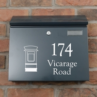 Anthracite Grey Steel Letterbox - The Salute - Personalised