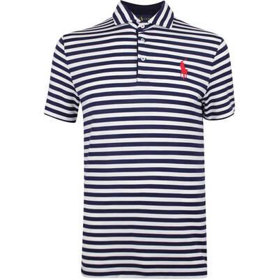 Justin Thomas POLO Golf Shirt YD Stripe Tour Pique White SS19