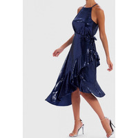 FOREVER UNIQUE NAVY SEQUIN HALTER NECK MIDI DRESS - 10
