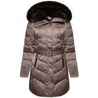 RINO & PELLE PRETTY FAUX FUR DOUBLE COLLAR QUILTED JACKET - GOLD - 8