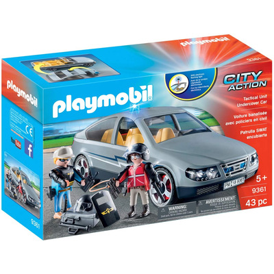 Playmobil SWAT Undercover Car with Removeable Flashing Blue Light