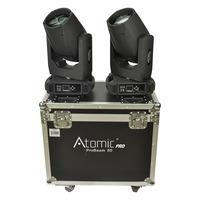 Atomic Beam Set of 2 LED Moving Heads with Flightcase