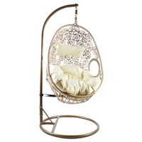 Charles Bentley Hanging Garden Patio Outdoor Rattan Swing Chair - Sand / Grey Natural