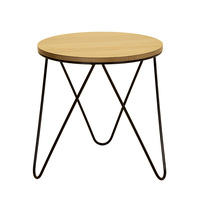 Charles Bentley Round Wood and Metal Hairpin Side Table