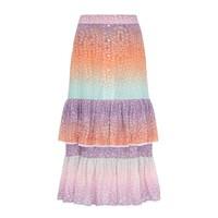 Midi Frill Silk Skirt - Ombre Crocodile Pastel