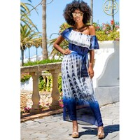 Mustique Silk Maxi Dress - Blue Black