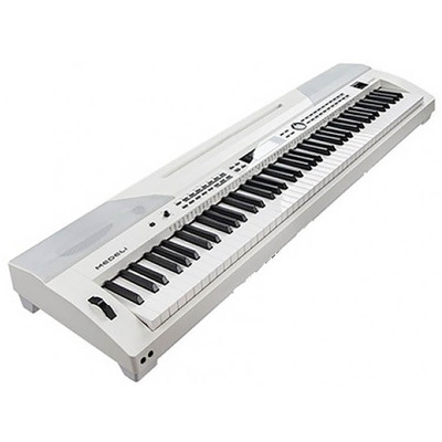 88 Key Stage Piano with Accompaniment in White