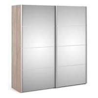FTG &pipe; Verona Sliding Wardrobe 180cm in Truffle Oak with Mirror Doors with 5 Shelves