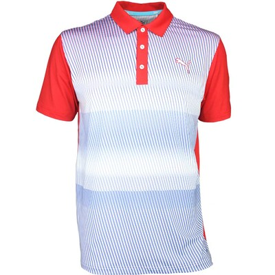 Puma Golf Shirt Brushstripe High Risk Red SS16