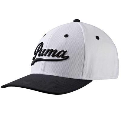 Puma Golf Cap Script Pre Curved White Black AW16