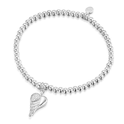 ROX Silver Mini Winged Heart Charm Bracelet - S