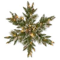 "Glittery Bristle Pine Pre-Lit PVC Artificial Christmas Snowflake Wreath 32"" by National Trees"