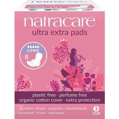 Natracare Ultra Extra Pads Long with Wings - Pack of 8