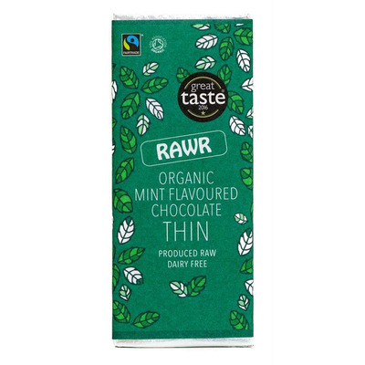 Rawr Organic Mint Thin Chocolate Bar 30g