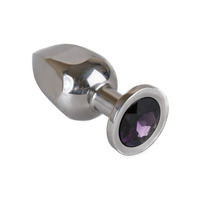 Image of 6 Sided Large Metal Butt Plug With Purple Jewel