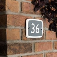 Rectangle house number in matt white ceramic with choice of coloured