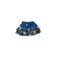 100% Cotton Baby RaRa Skirt - Blue With Blue Floral Print - Large