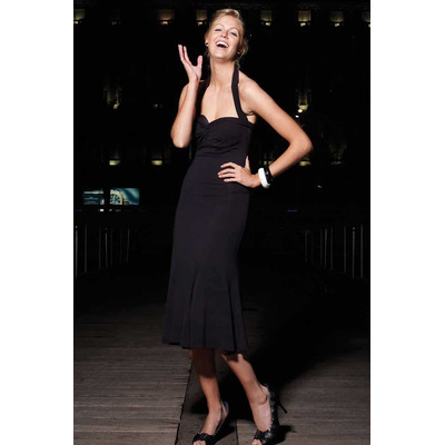 Body Control Monroe Twist Slimming Long Dress Black