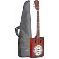 Resonator Cigar Box Guitar 4 String with Soft Case