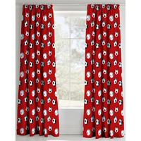 Catherine Lansfield Football Curtains 66 x 72 inch Red