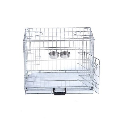 Dog Cage / Crate with Imitation Sheepskin Bed and 2 Hook On Bowls