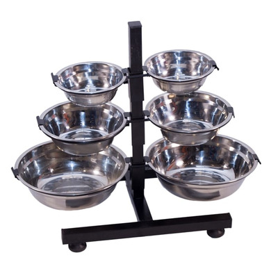 Raised Dog Bowl Stand And 2 Bowls