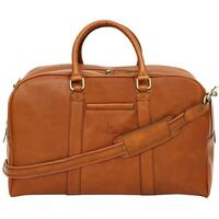Felda Firenze Leather Cabin-Sized Holdall / Carry On Bag - Tan