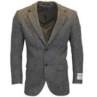 Harris Tweed Mens Silver Grey Herringbone Checked Blazer / Jacket - 38