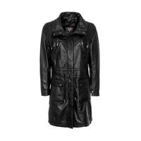 Woodland Leather Ladies Black 3/4 Drawstring Parka Coat - Black 8