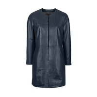 Woodland Leather Ladies Navy / Black Collarless 3/4 Edge to Edge Coat - Navy 8